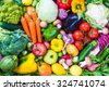 Different raw vegetables background.Healthy eating. - stock photo