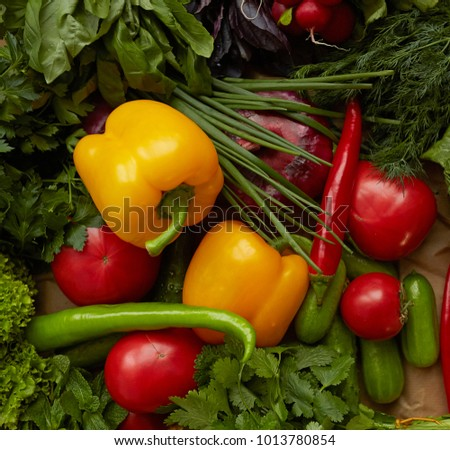 Different raw vegetables background. Healthy nutrition. Fresh organic food.
