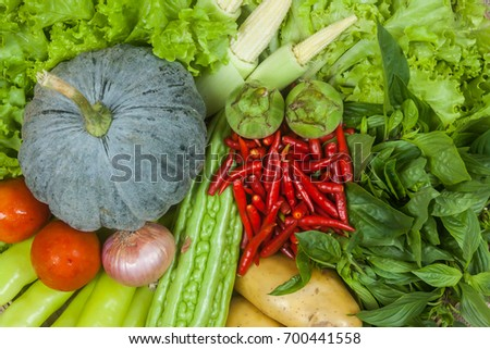 Different raw vegetables in asia.Planted with organic substances.
