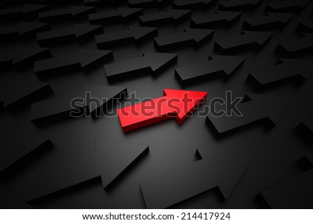 Different red arrow  - stock photo