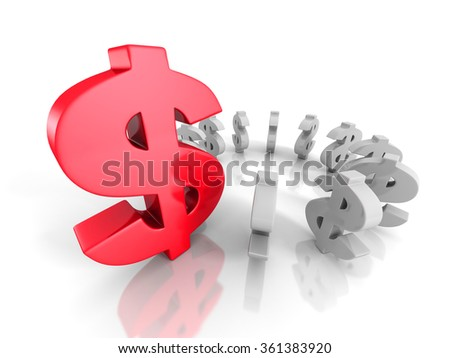 Different Red Big Dollar Currency Symbol. Finance Concept 3d Render Illustration - stock photo