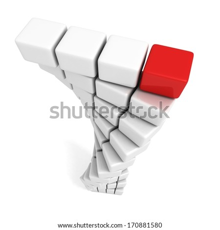 Different red cube on  top of white tower - stock photo