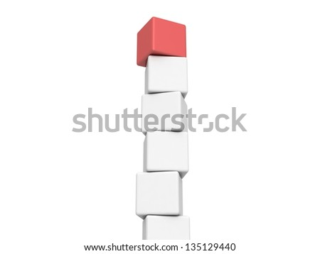 Different red cube on white background - stock photo
