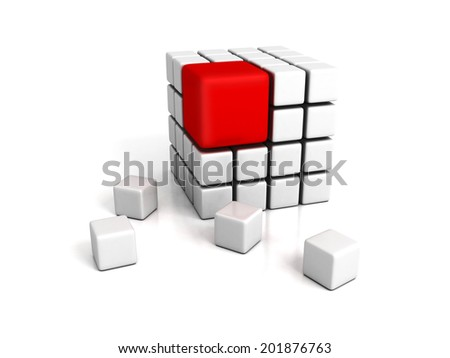 different red cube on white backround. leadership concept 3d render illustration