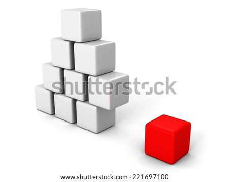 different red cube out from white blocks pyramid. individuality concept 3d render illustration - stock photo