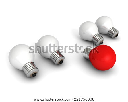different red idea light bulb on white. creativity concept 3d render illustration - stock photo