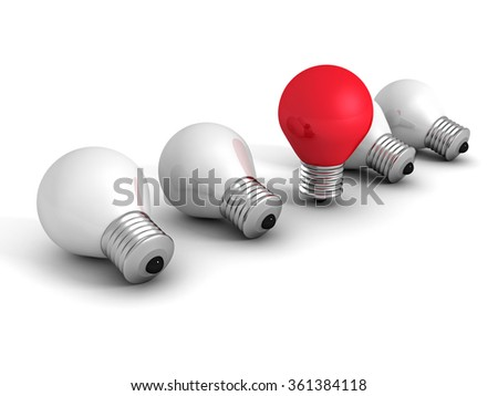 different red idea light bulb on white. creativity concept 3d render illustration