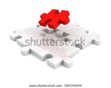 different red piece of jigsaw puzzle structure. individual teamwork leadership concept 3d illustration - stock photo