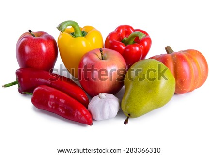 different ripe vegetables and fruit isolated. large depth of field of the frame - stock photo