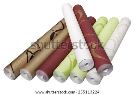 Different rolls of wallpaper isolated on white background with clipping path - stock photo