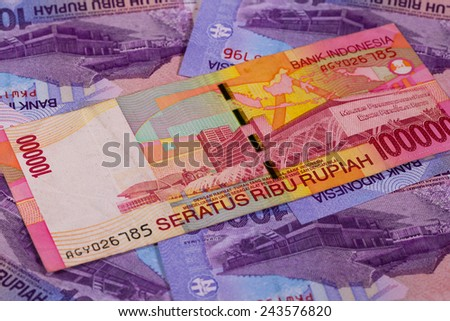 Different rupiah banknotes from Indonesia - stock photo