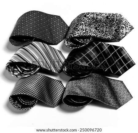 different set of luxury tie on white background - stock photo