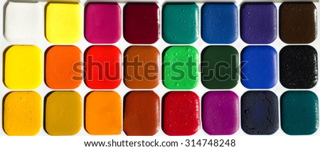 Different set of watercolors in the box  - stock photo