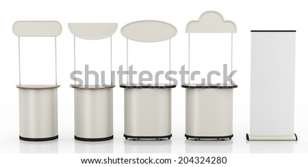 different several booths or kiosks with roll-up from front isolated on white.  - stock photo
