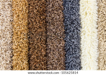 different shaggy carpet samples, a closeup shot - stock photo