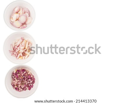 Different shape of chopped onions in white bowls over white background - stock photo