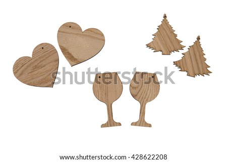 different shape of empty wooden labels for different kind of celebrations - stock photo