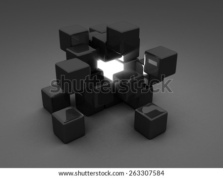 Different Shiny Light Cube Incide Of Dark Group. Individuality Concept. 3d Render illustration - stock photo
