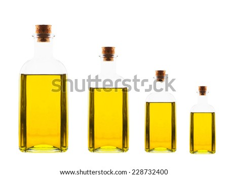 different size bottles with olive oil