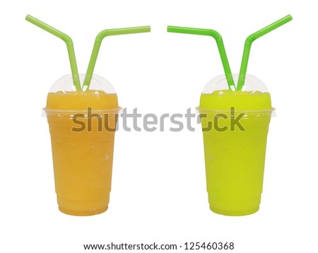 different smoothie with fruits  on white background - stock photo