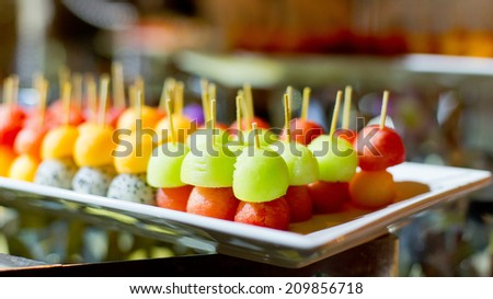 Different sort of fruit canape for a self service buffet Wedding Ceremony - stock photo
