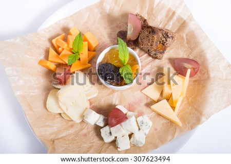 Different sorts of cheese - stock photo