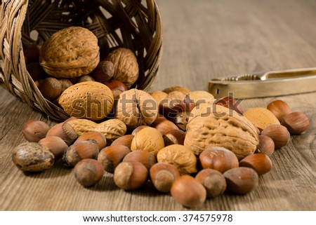 Different sorts of nuts in a basket