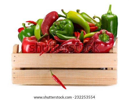 Different sorts of pepper. - stock photo