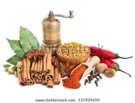 Different spices and herbs isolated on white background - stock photo