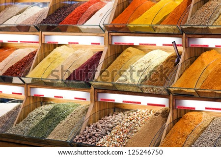 different spices and tea on market - stock photo