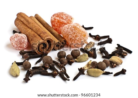 different spices for the wine on the white background