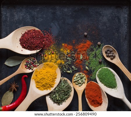 different spices on a dark background - stock photo