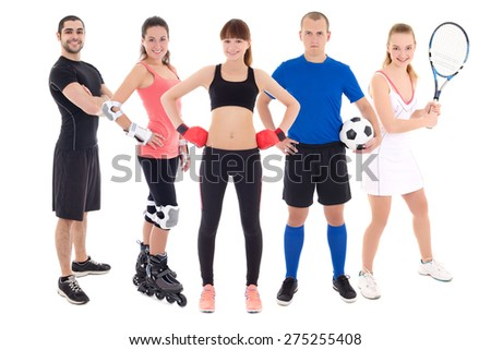 different sports concept - young people in spotswear isolated on white background - stock photo