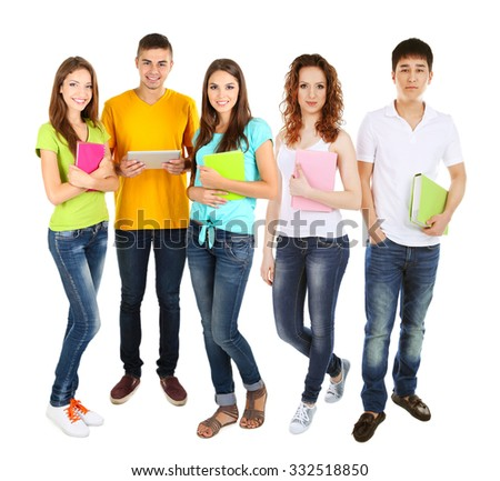 Different students, isolated on white - stock photo