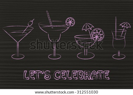 different style of drink glasses with straws, coktail umbrellas and lemon slices