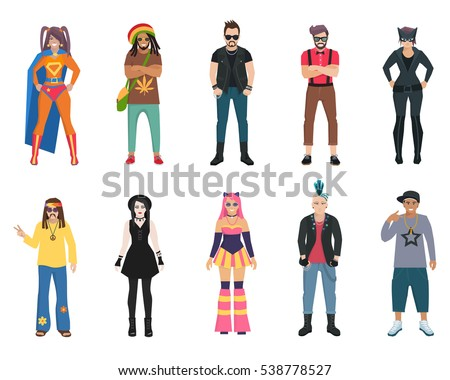 Different subcultures trendy full length man and woman isolated icons set  illustration