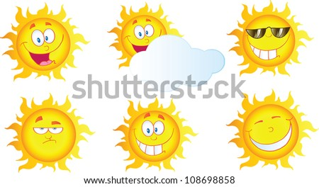 Different Sun Cartoon Mascot Characters. Raster Illustration.Vector version also available in portfolio. - stock photo