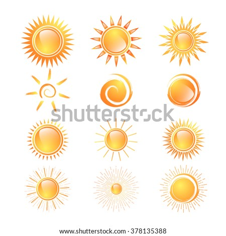 Different Sun Collection Over White Background - stock photo