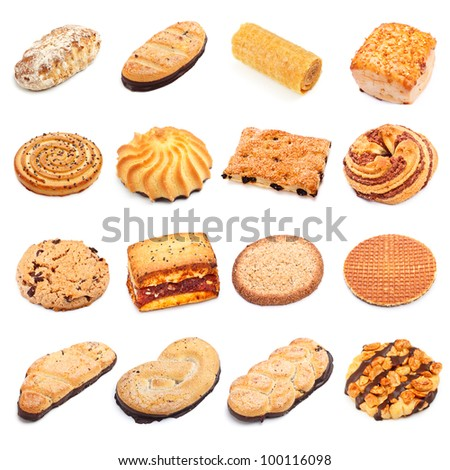 different sweet bakery set isolated on white background