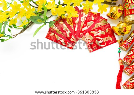 Different symbols of Chinese New Year on white background - stock photo