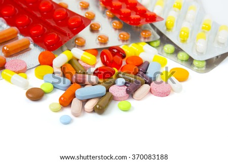 Different tablets isolated on white - stock photo
