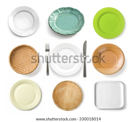Different tableware isolated  on white background - stock photo