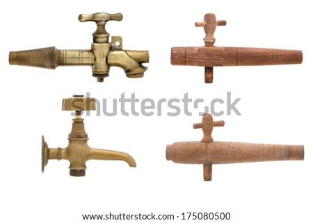 different tap wood and brass - stock photo
