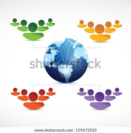 different teams of people working around the world. illustration design over white - stock photo