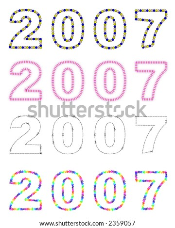 Different text styles of year 2007