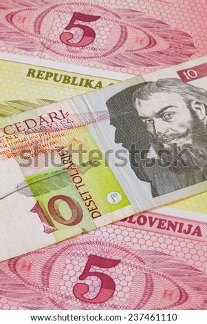 Different Tolar banknotes from Slovenia on the table - stock photo