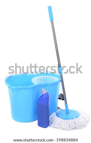 Different tools for cleaning floor in room - stock photo