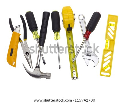 Different tools on a white background