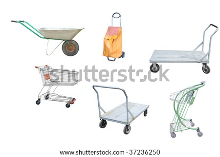 different  trolleys under the white background - stock photo