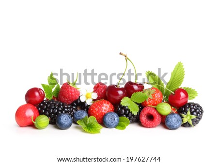 Different type of berry fruits isolated on white background. - stock photo